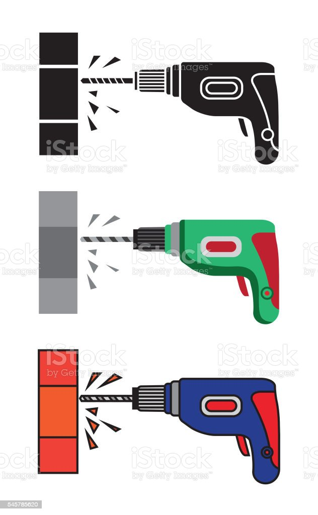 Hand electric drill vector art illustration