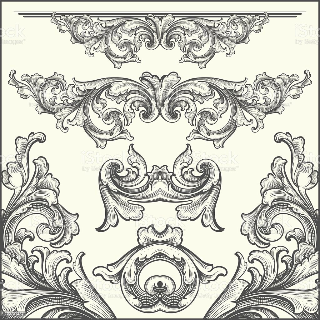 hand engraved Ornate Scrollwork Elements royalty-free stock vector art