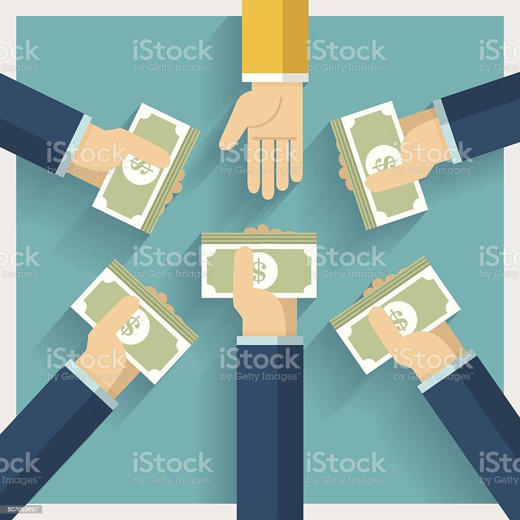 Hand Exchange Money and Idea vector art illustration