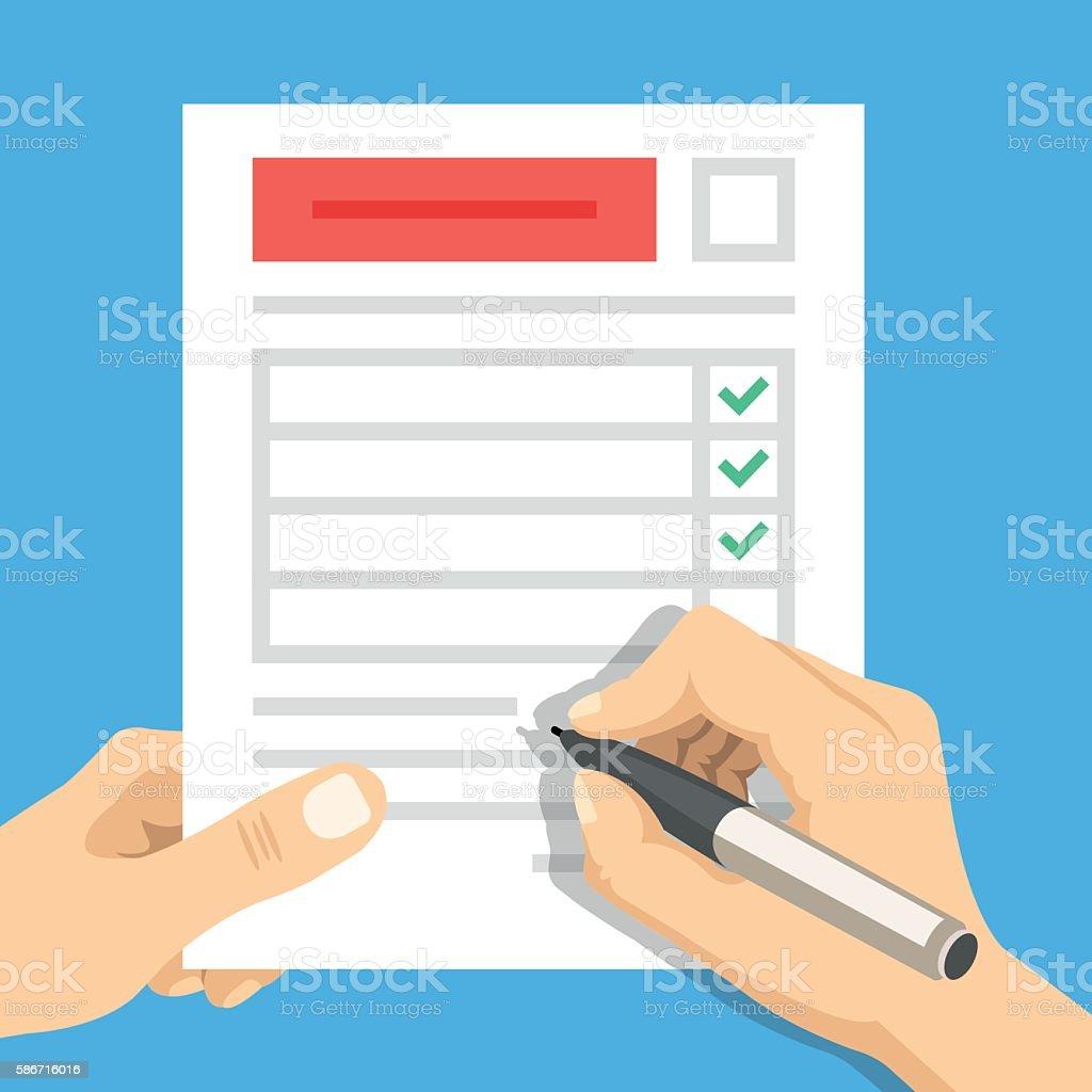 Hand filling form. Hand holding survey sheet. Flat vector illustration vector art illustration