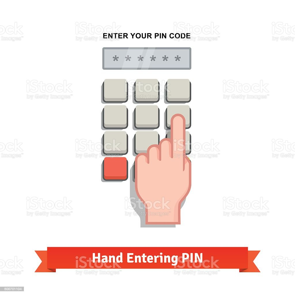 Hand finger entering with PIN code on a keypad vector art illustration