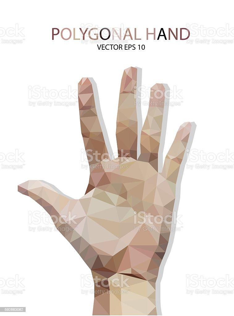 hand fingers five polygon style vector art illustration