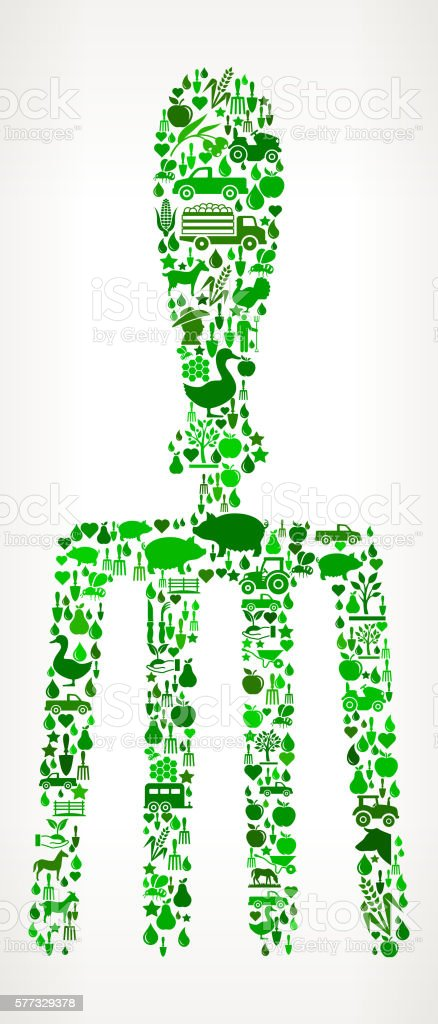 Hand Fork Farming and Agriculture Green Icon Pattern vector art illustration