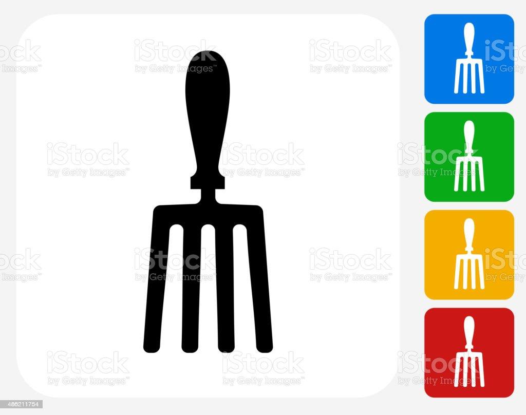 Hand Fork Icon Flat Graphic Design vector art illustration