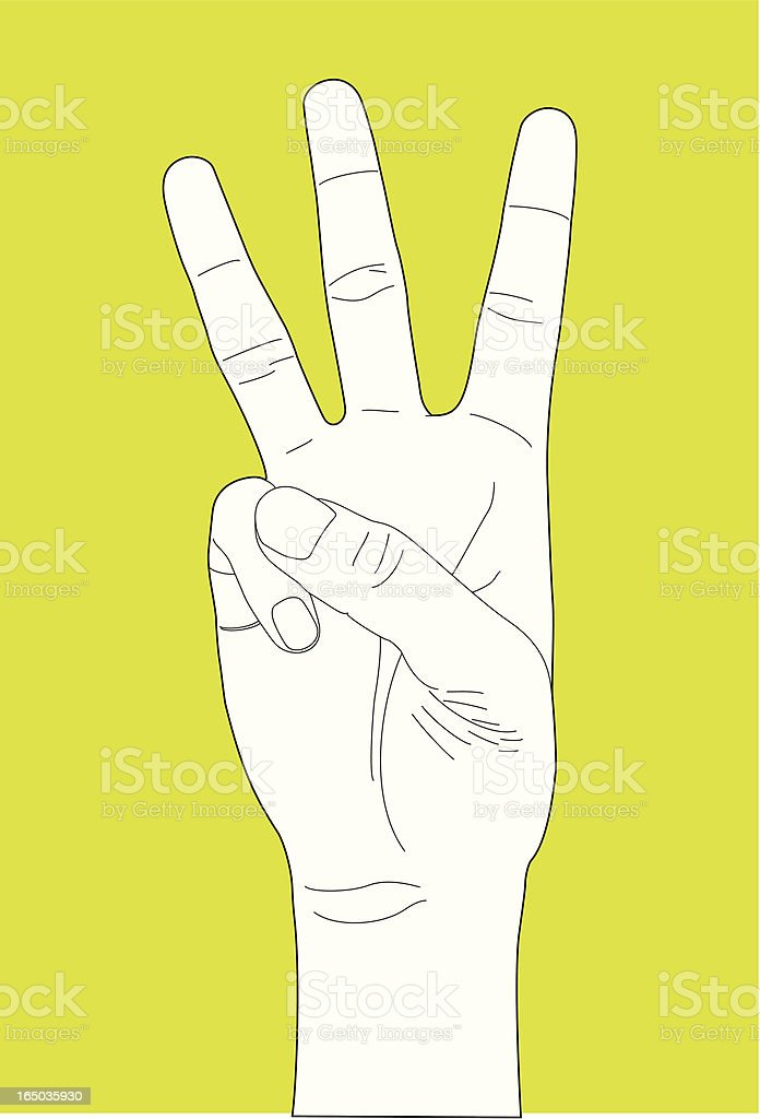 Hand Gesture Number Three royalty-free stock vector art
