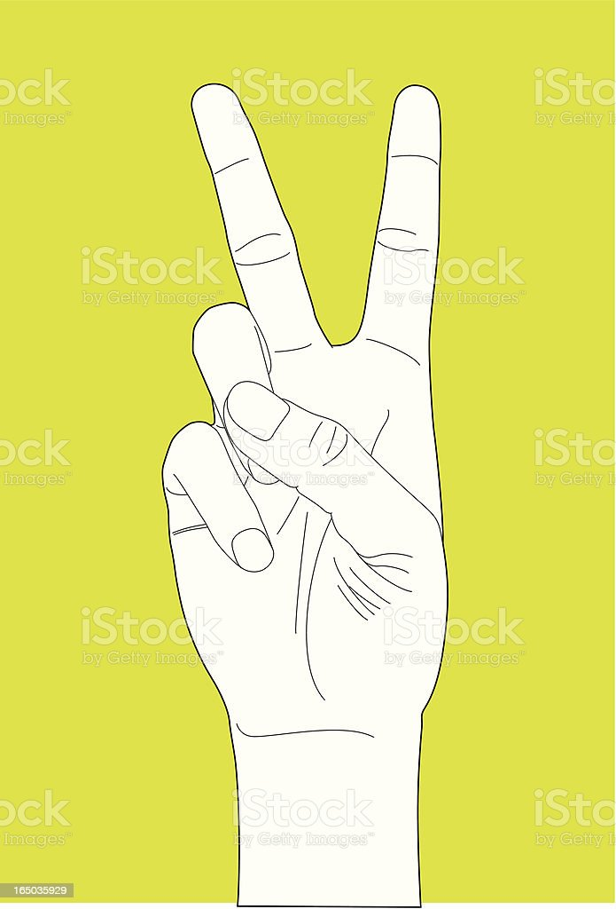 Hand Gesture Number Two royalty-free stock vector art