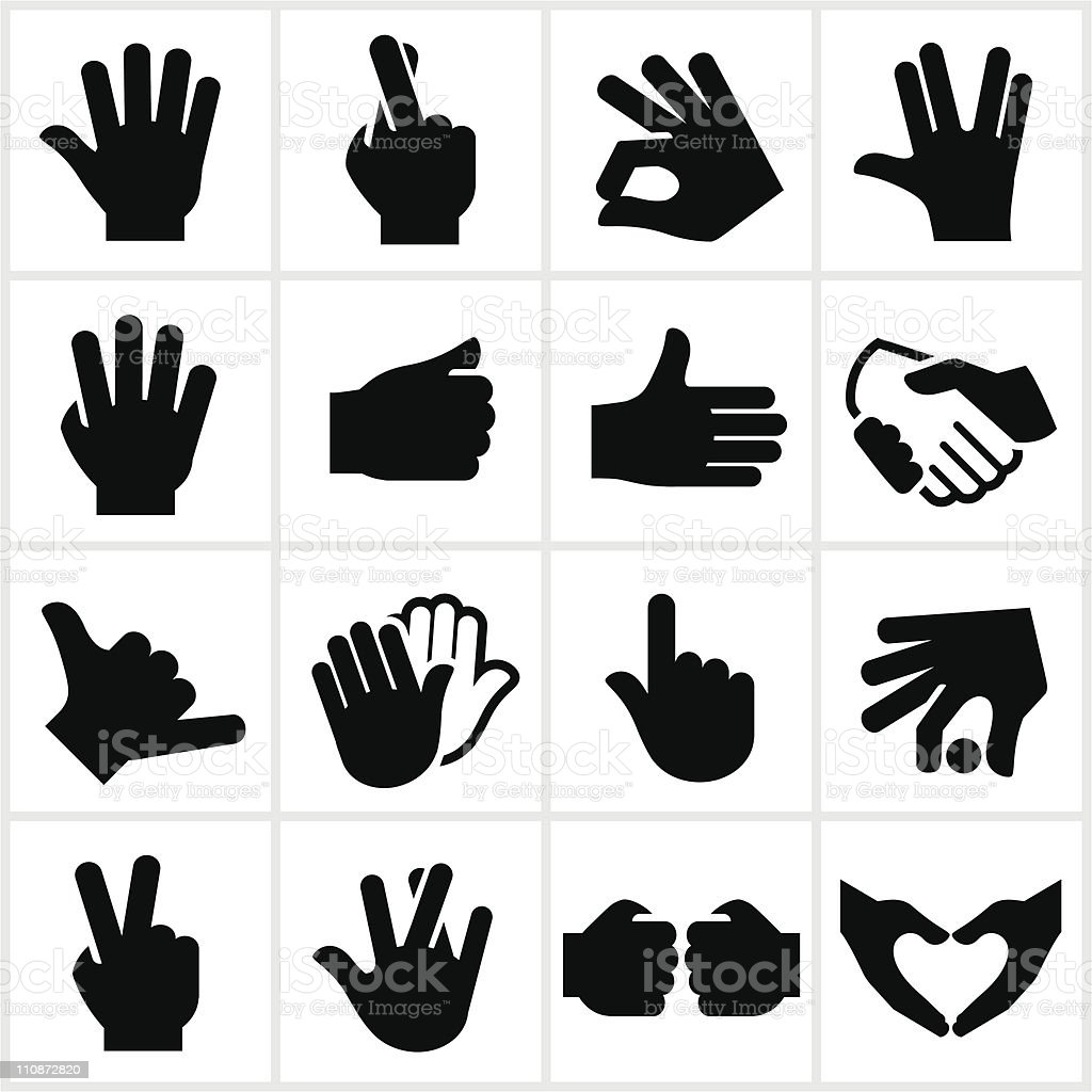 Hand Gesture Symbols vector art illustration