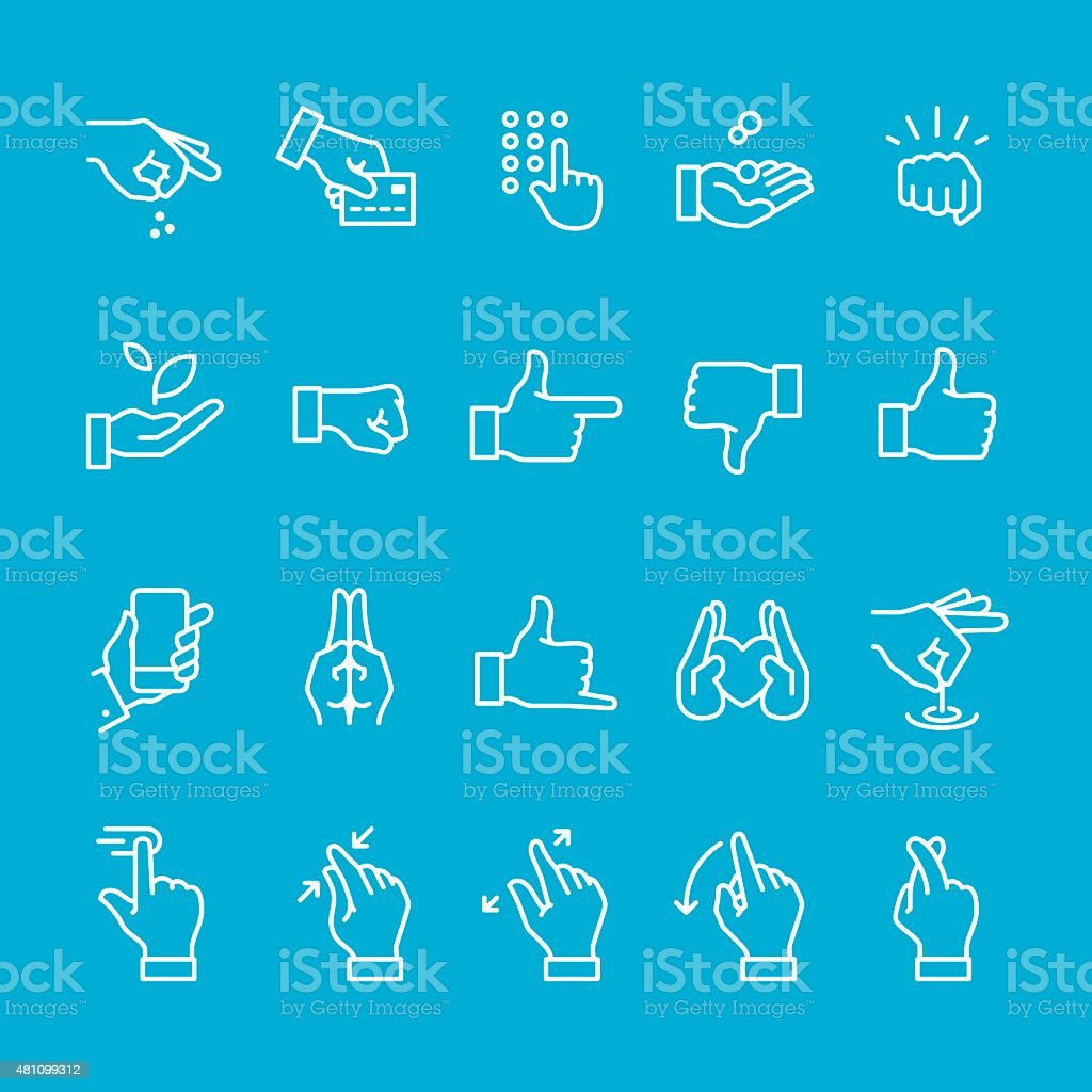 Hand gestures and sign icons collection vector art illustration