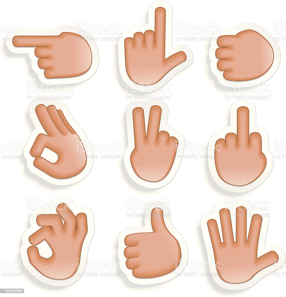 Hand Gestures Icon Set 2 royalty-free stock vector art