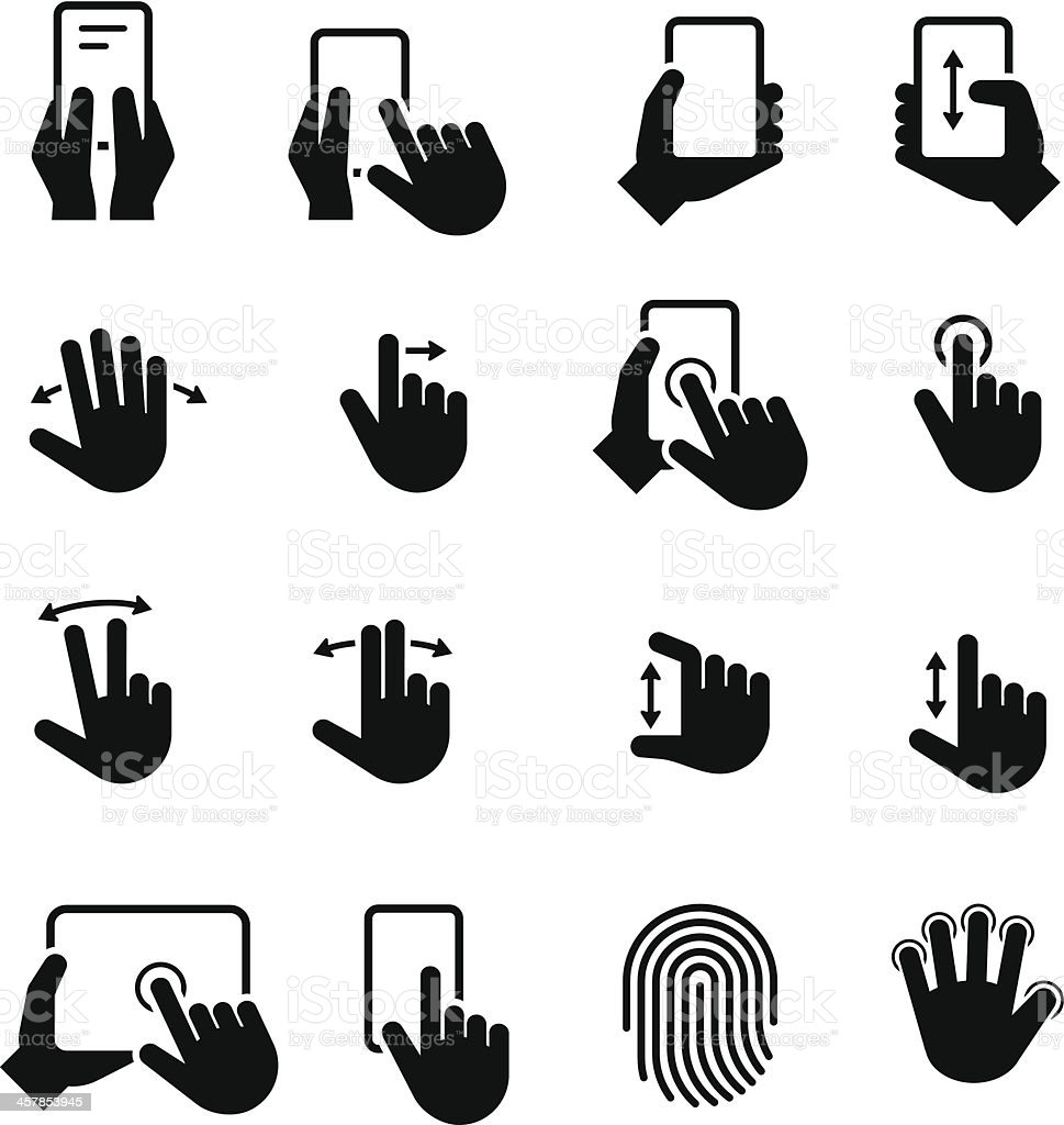 Hand Gestures Icons - Black Series vector art illustration