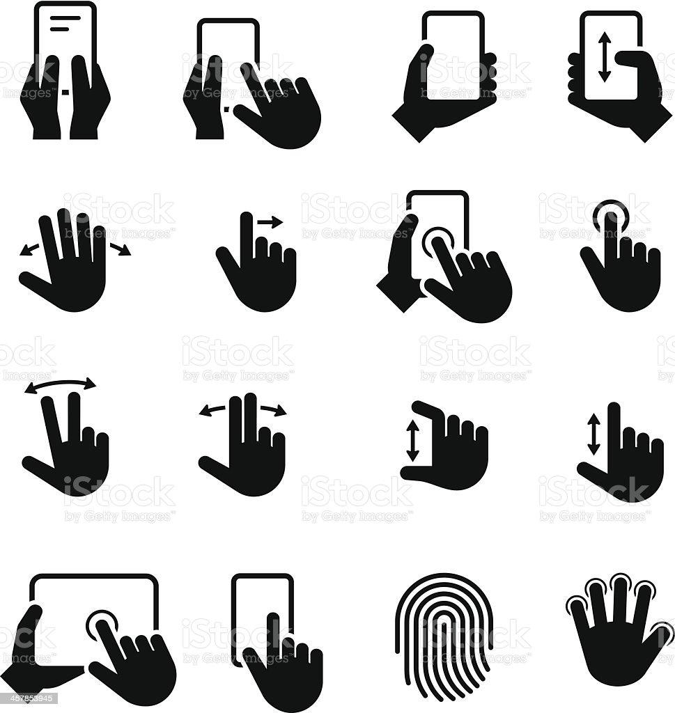 Hand Gestures Icons - Black Series vector art illustration