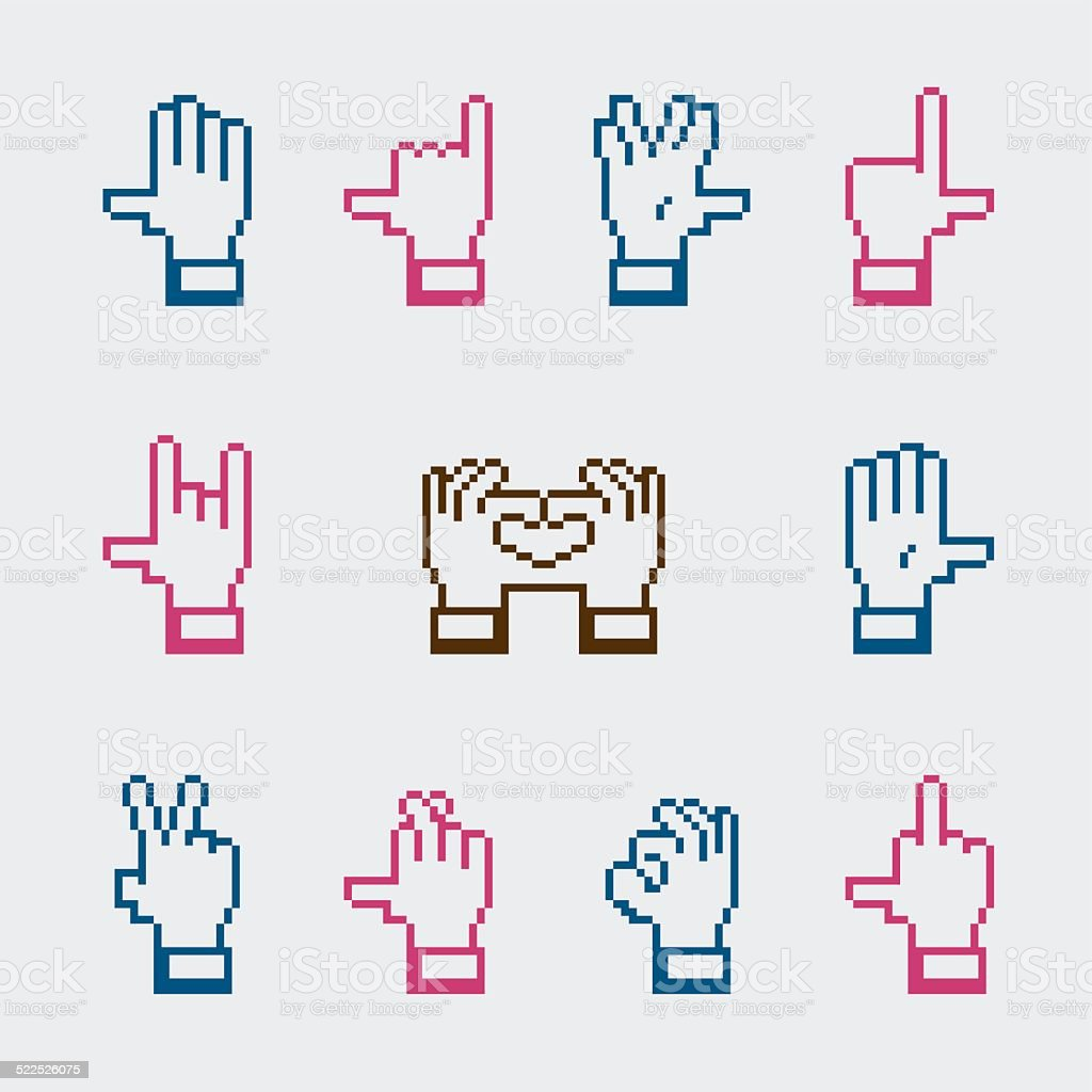 Hand Gestures Icons - Color Series vector art illustration