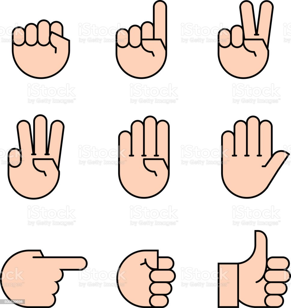 hand gestures. icons set. vector art illustration