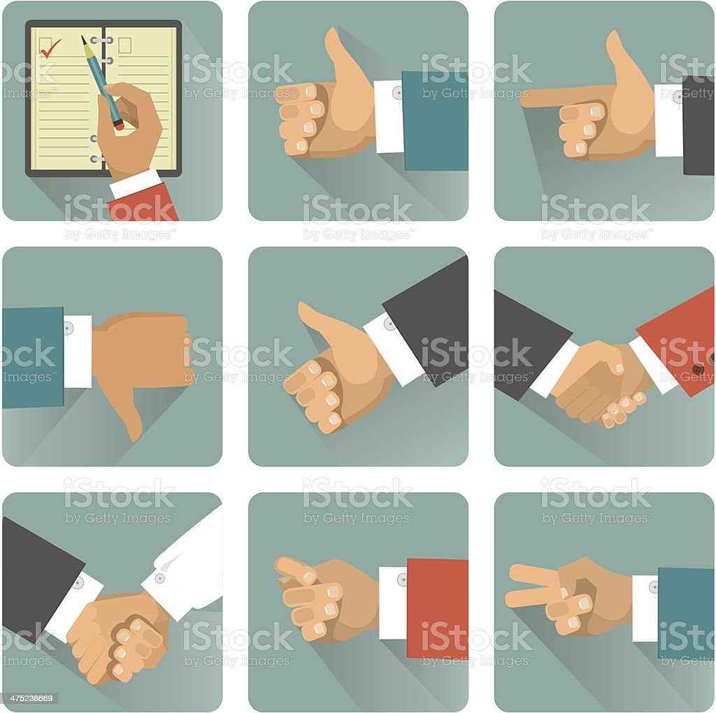 hand gestures icons vector art illustration