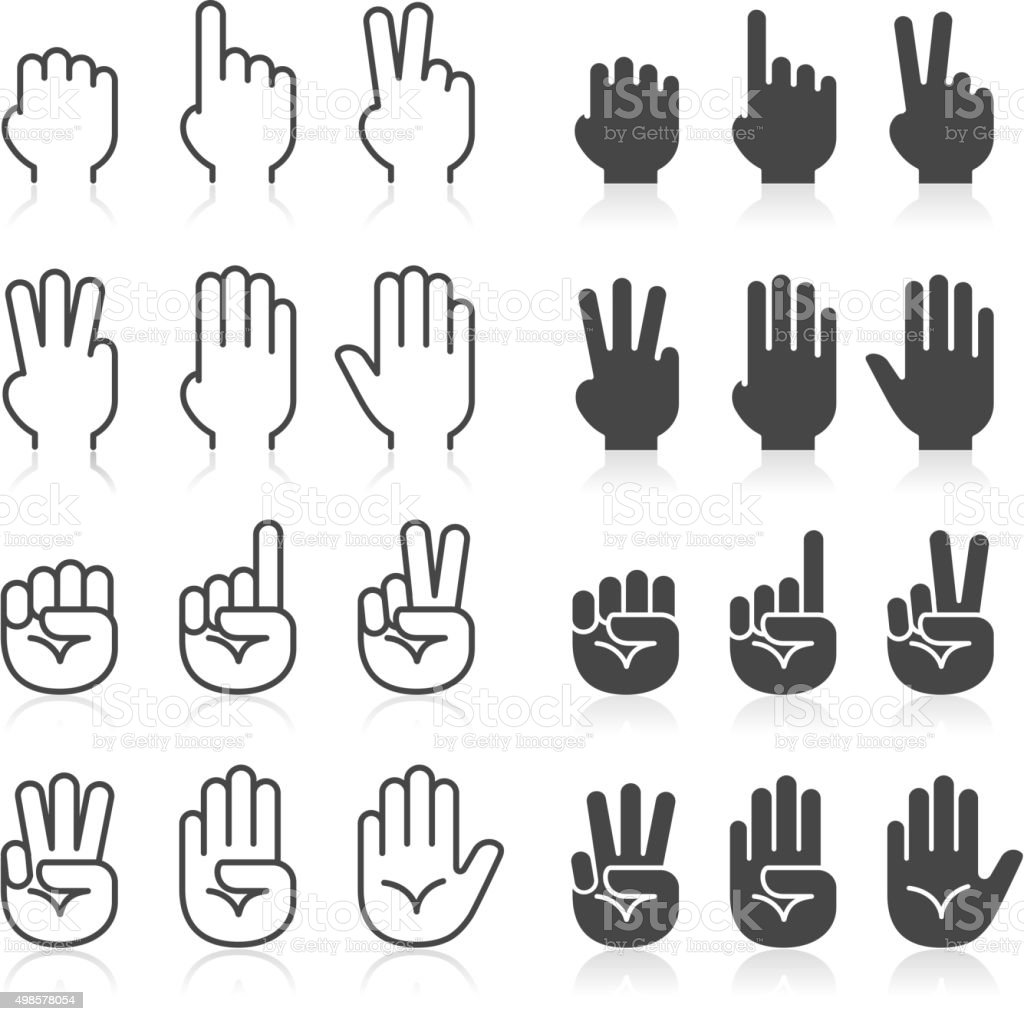 Hand gestures line icons set. vector art illustration