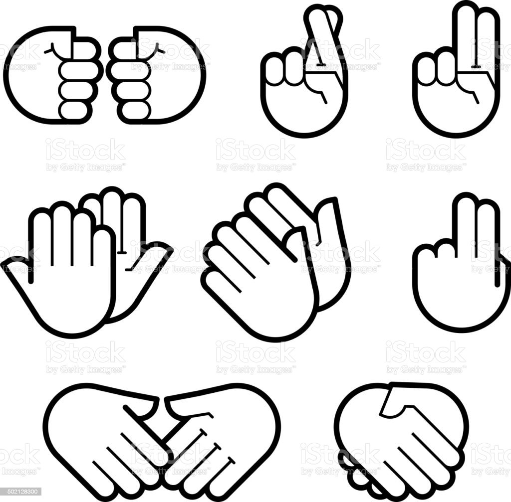 hand gestures. line icons set. vector art illustration
