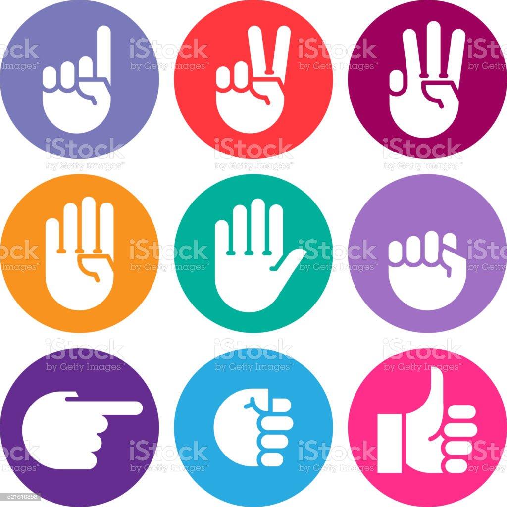 hand gestures. line icons set. vector art illustration