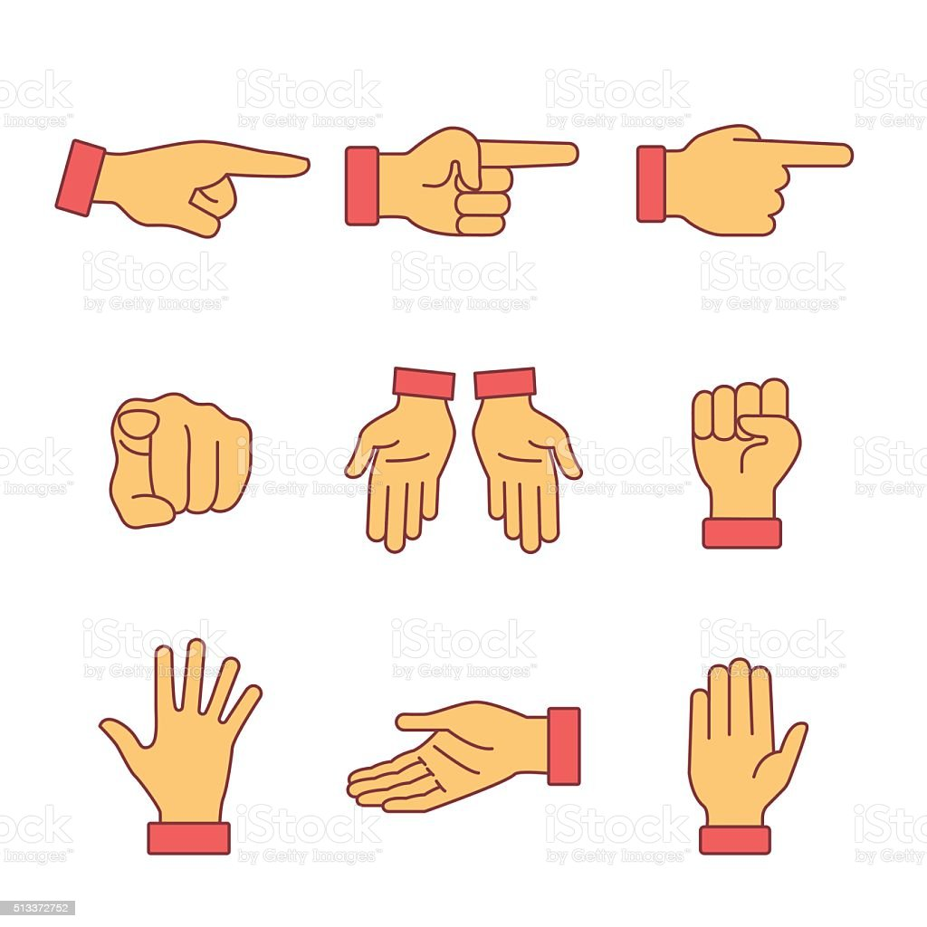 Hand gestures signs set. Thin line art icons vector art illustration