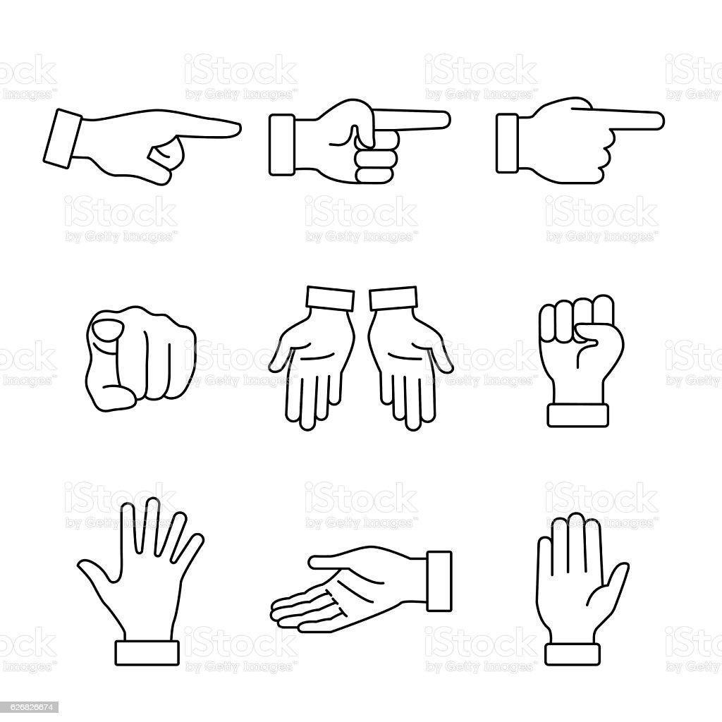 Hand gestures signs set vector art illustration