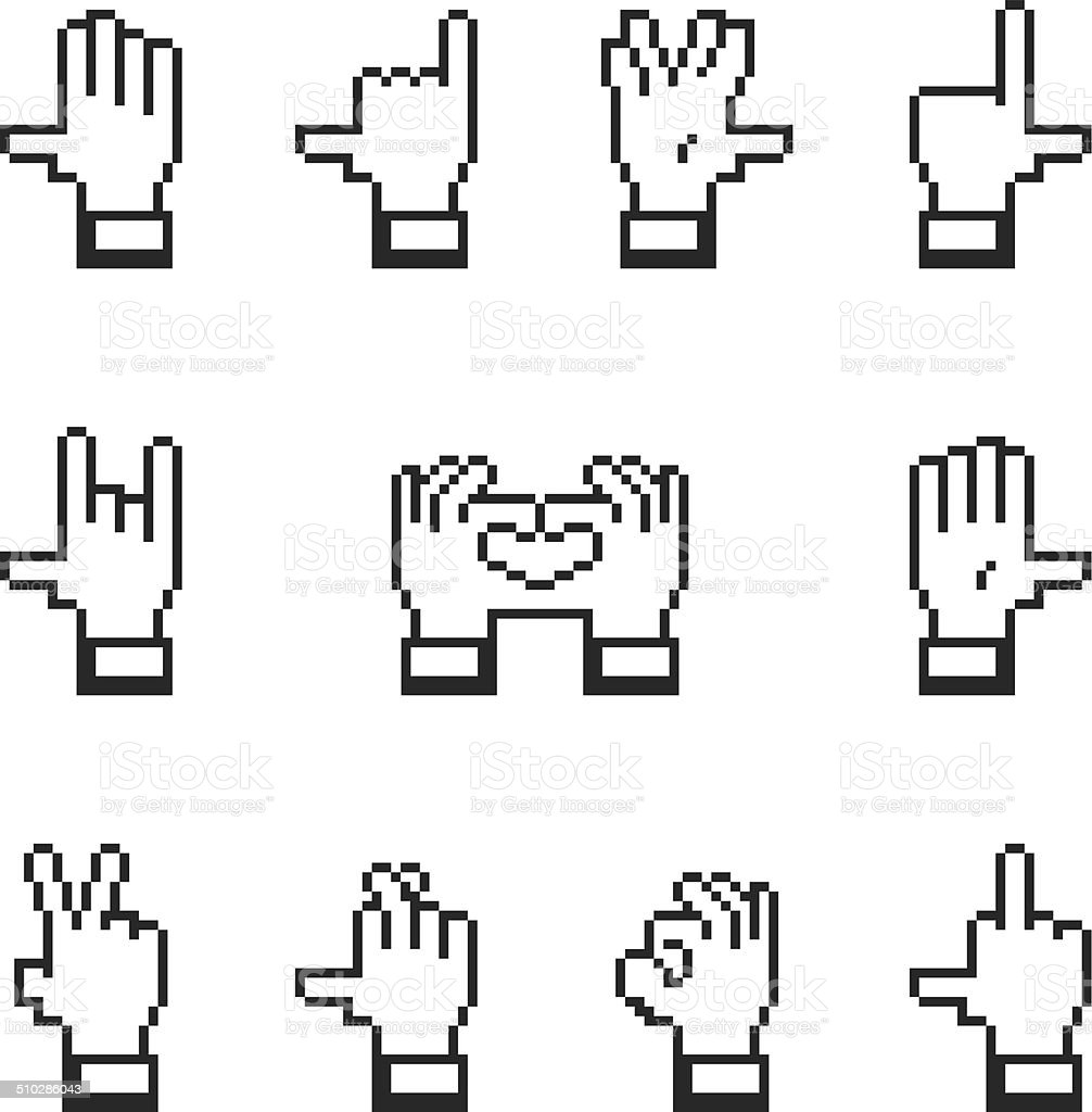 Hand Gestures Silhouette Icons vector art illustration