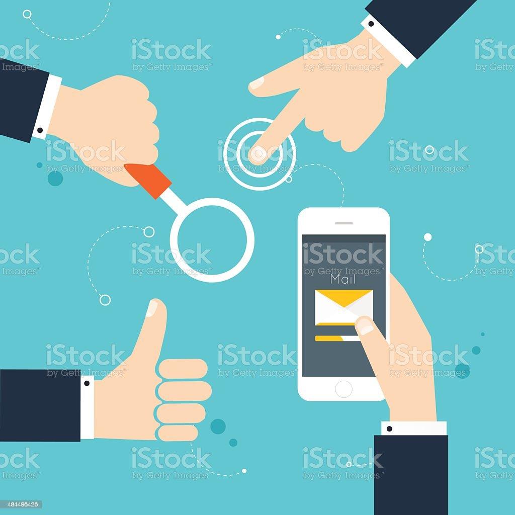 Hand gestures: using modern digital devices, holding phone, thum vector art illustration