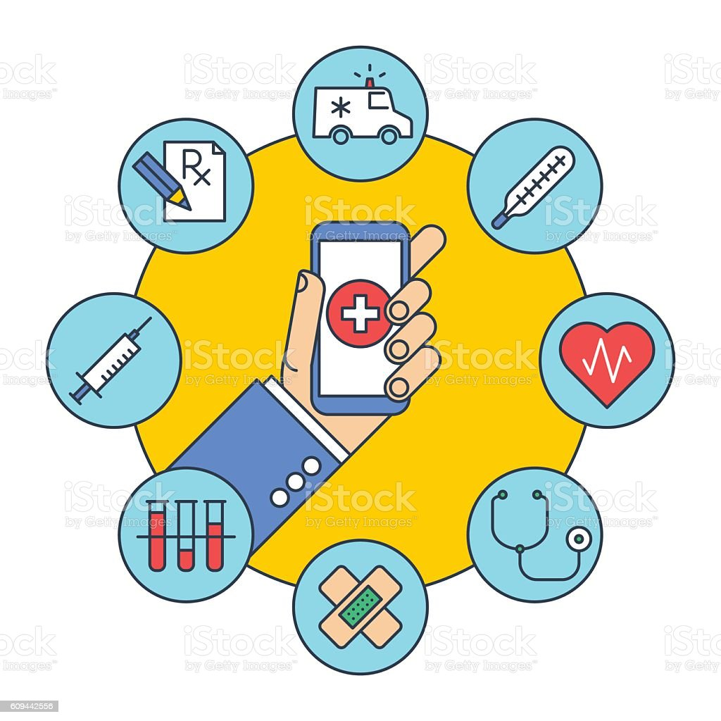 Hand gets first aid by phone. Medicine and health. vector art illustration