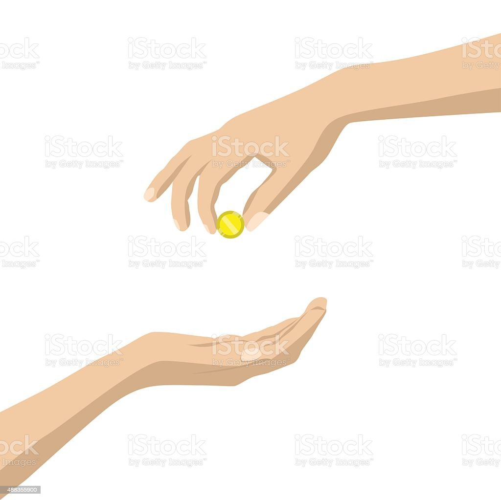hand give money on white background vector art illustration