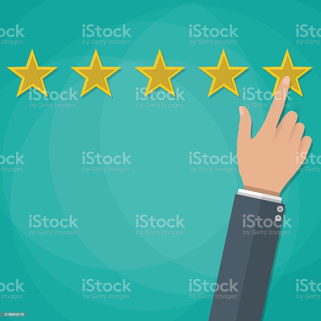 Hand gives a star rating vector illustration vector art illustration