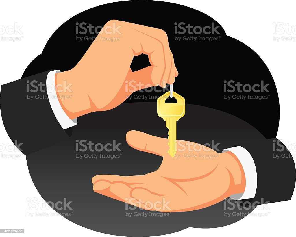Hand gives the key vector art illustration