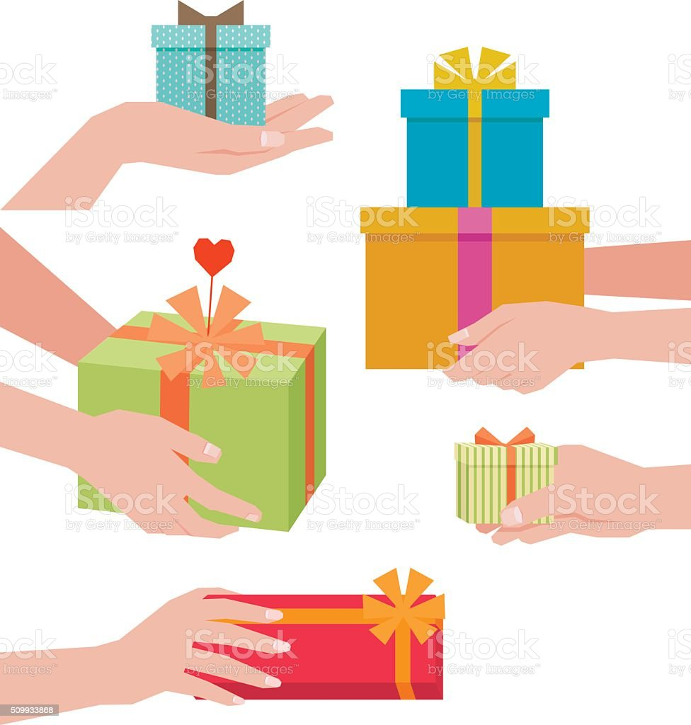 Hand giving a gift box isolated on white background vector art illustration