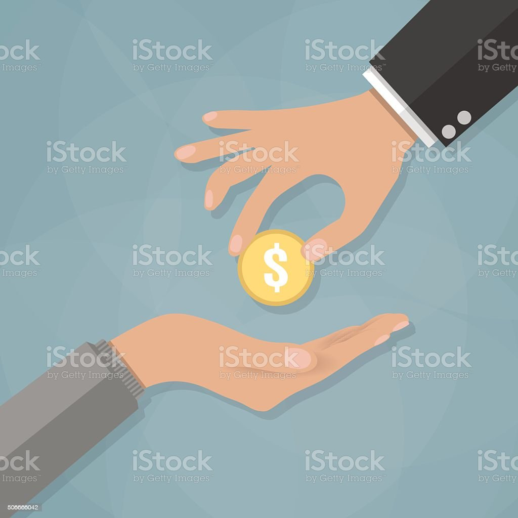 Hand giving golden coin to another hand vector art illustration