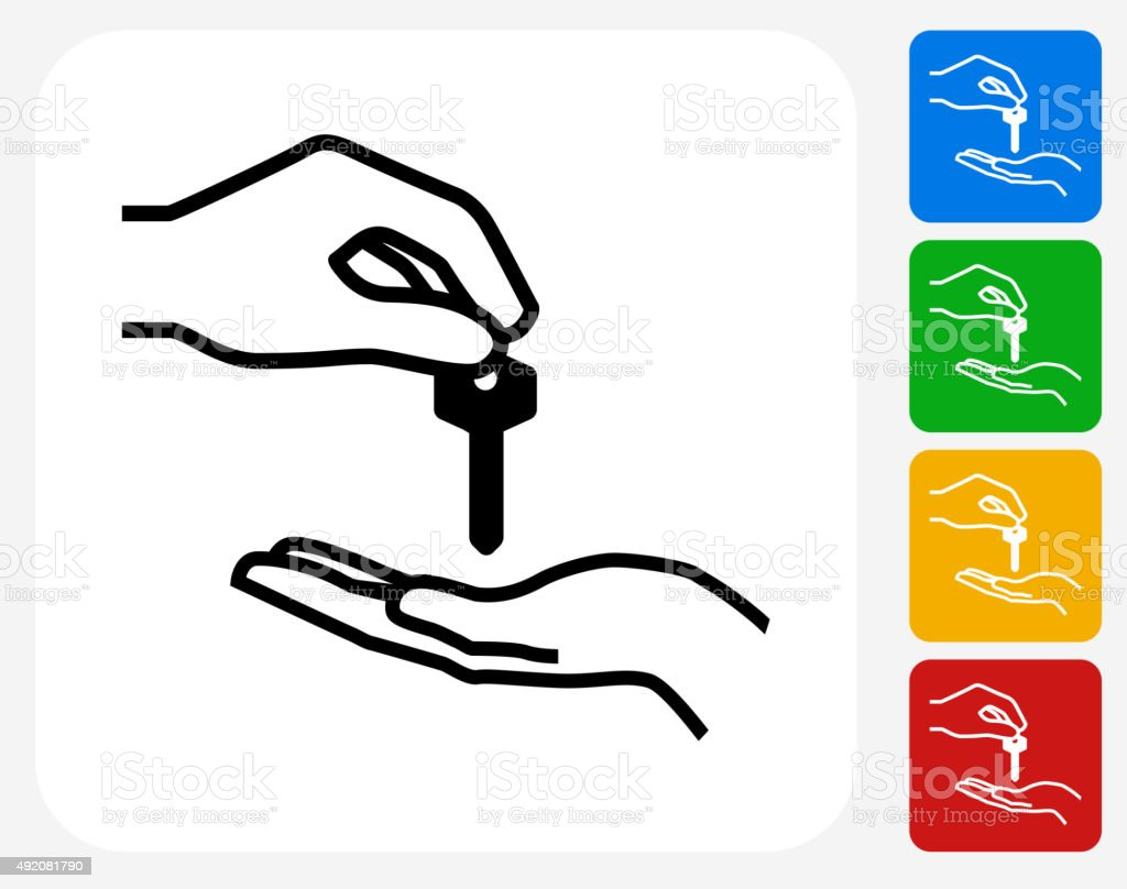 Hand Giving Keys Icon Flat Graphic Design vector art illustration