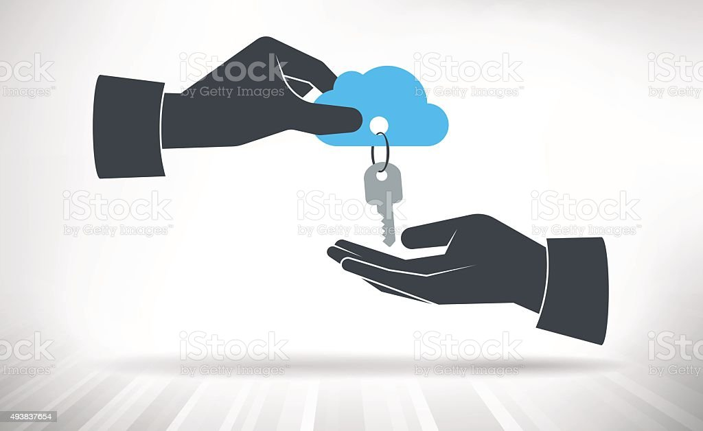 Hand giving keys to cloud vector art illustration
