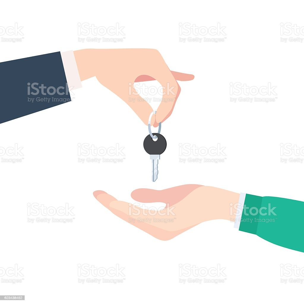 Hand giving keys vector art illustration