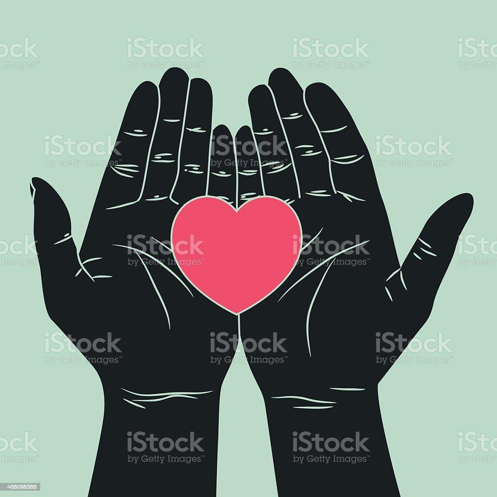 hand giving love symbol vector art illustration