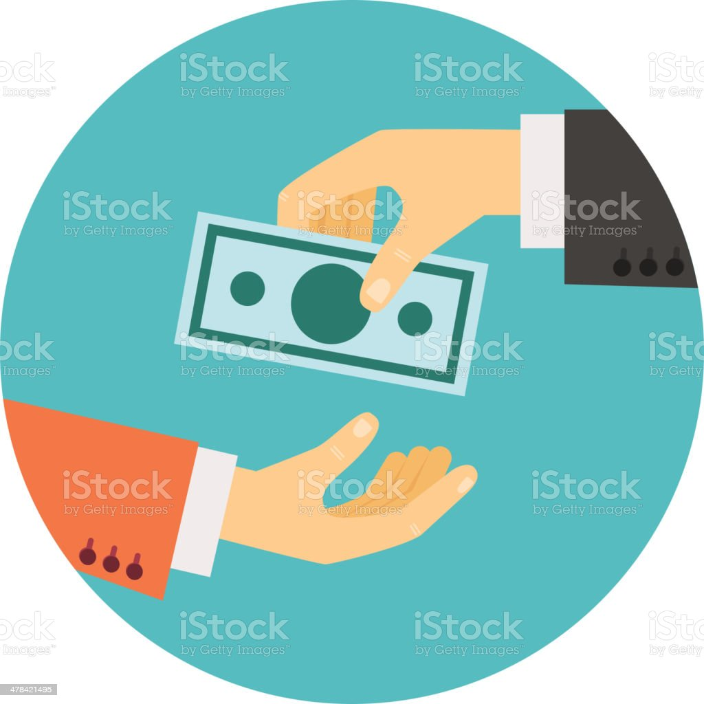 hand giving money illustration vector art illustration
