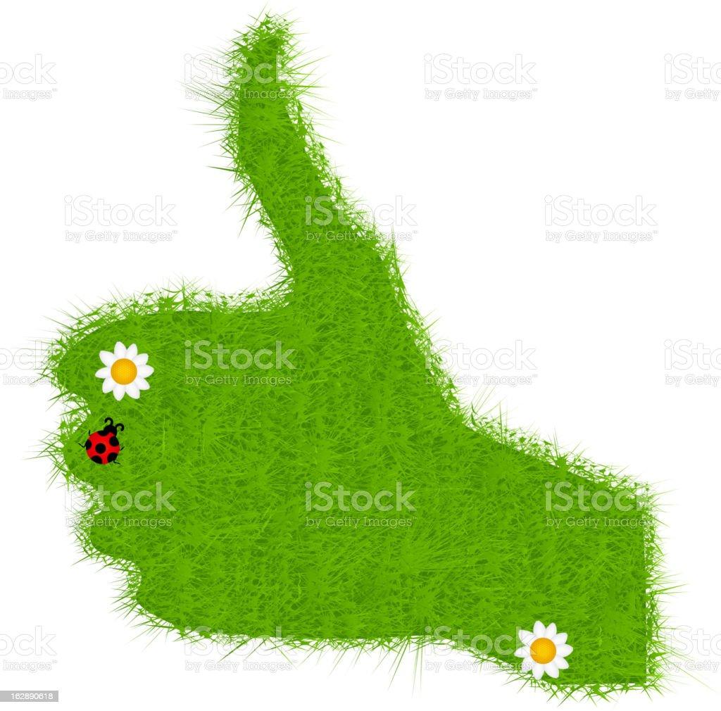 Hand grass green signal on white. vector illustration royalty-free stock vector art
