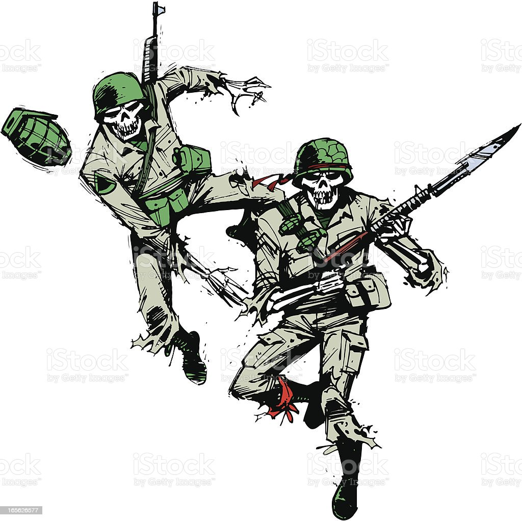 Hand Grenade and Military Soldier Skeletons royalty-free stock vector art