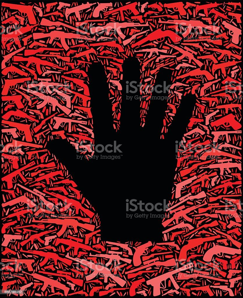 Hand Gun Icon Pattern Background vector art illustration