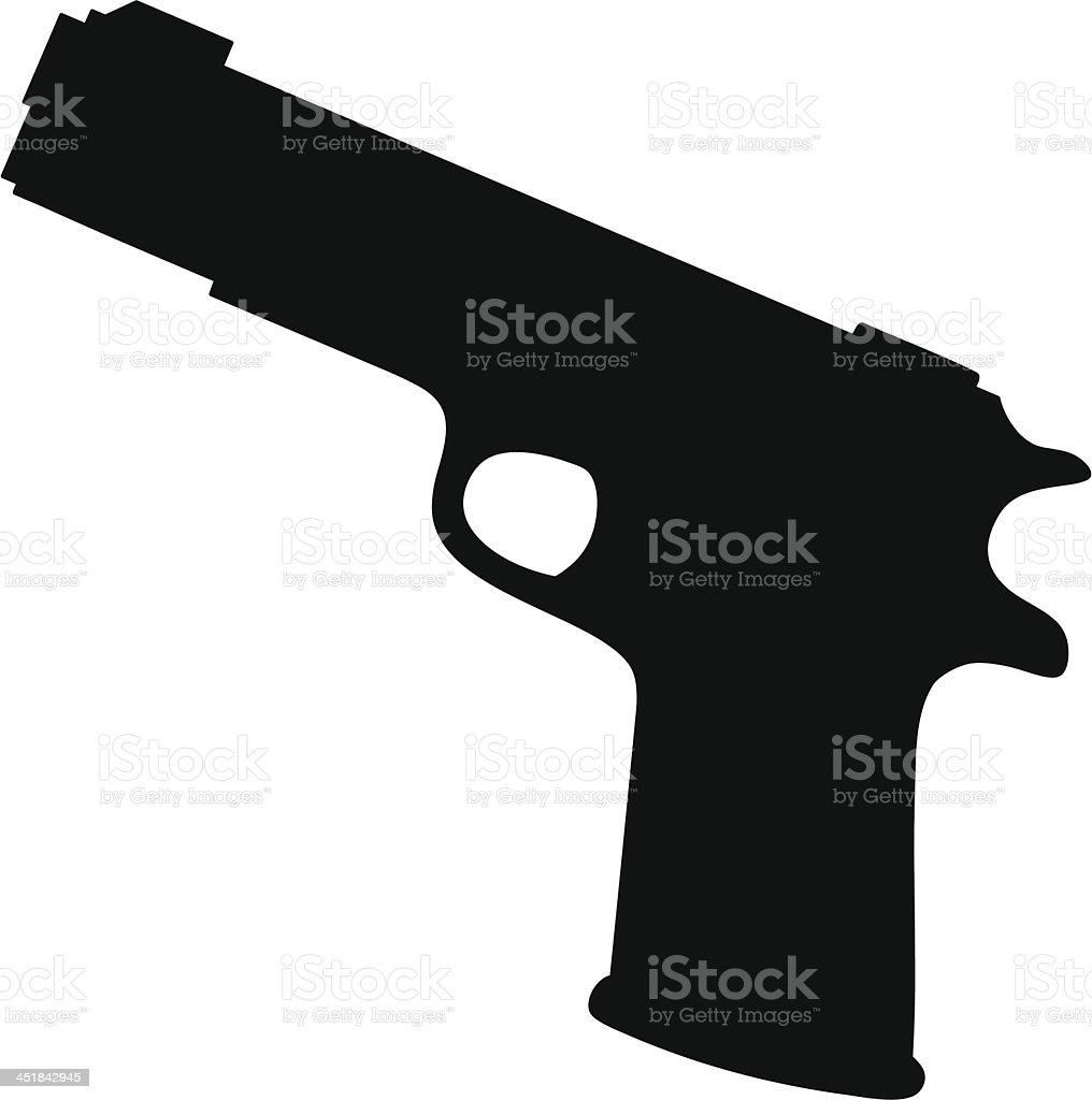 Hand Gun Silhouette vector art illustration