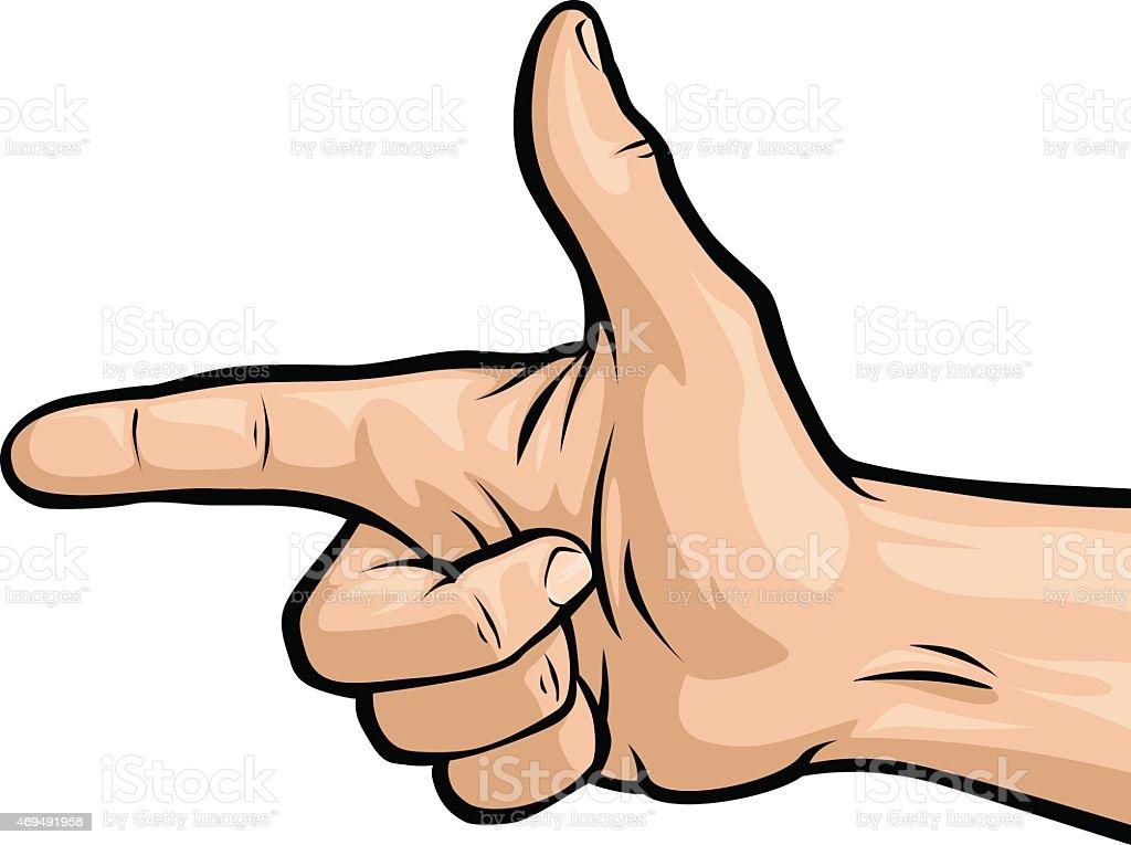 Hand Gun vector art illustration