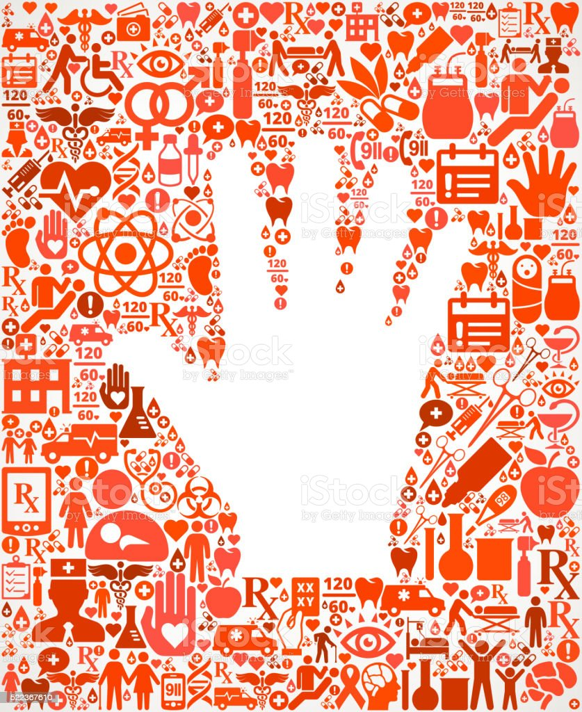 hand Healthcare and Medicine Seamless Icon Pattern vector art illustration