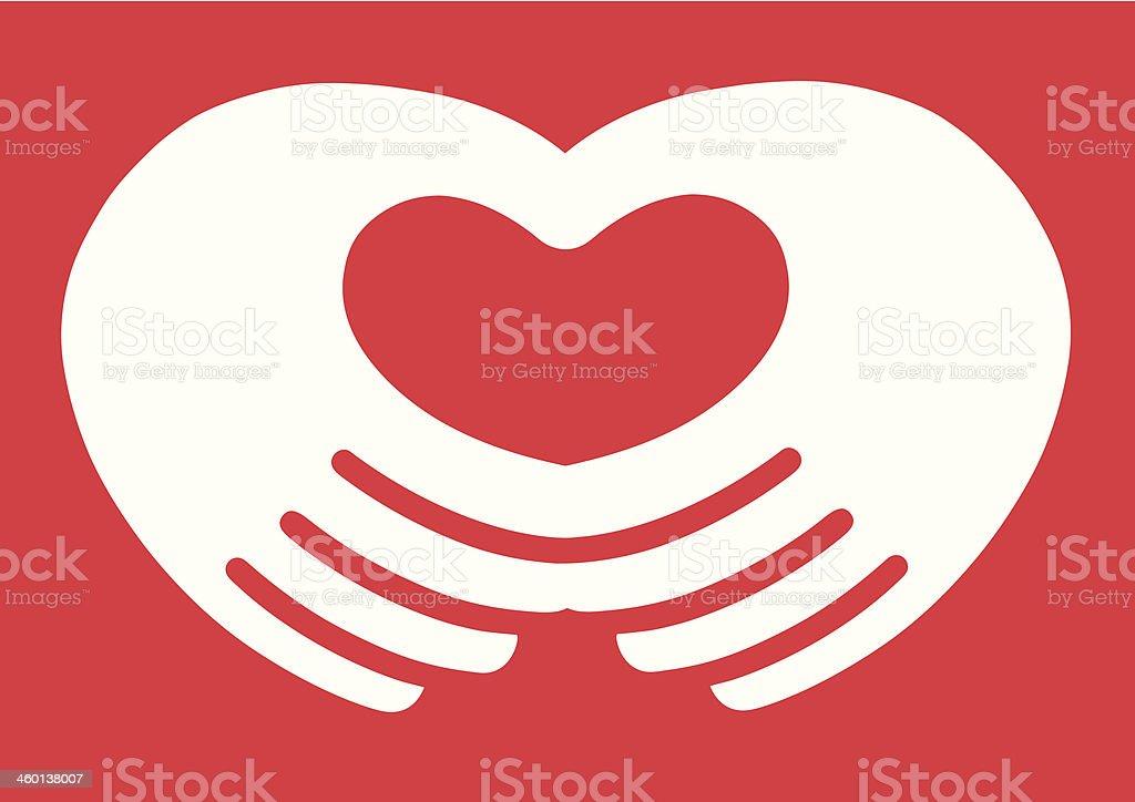 Hand Heart vector art illustration