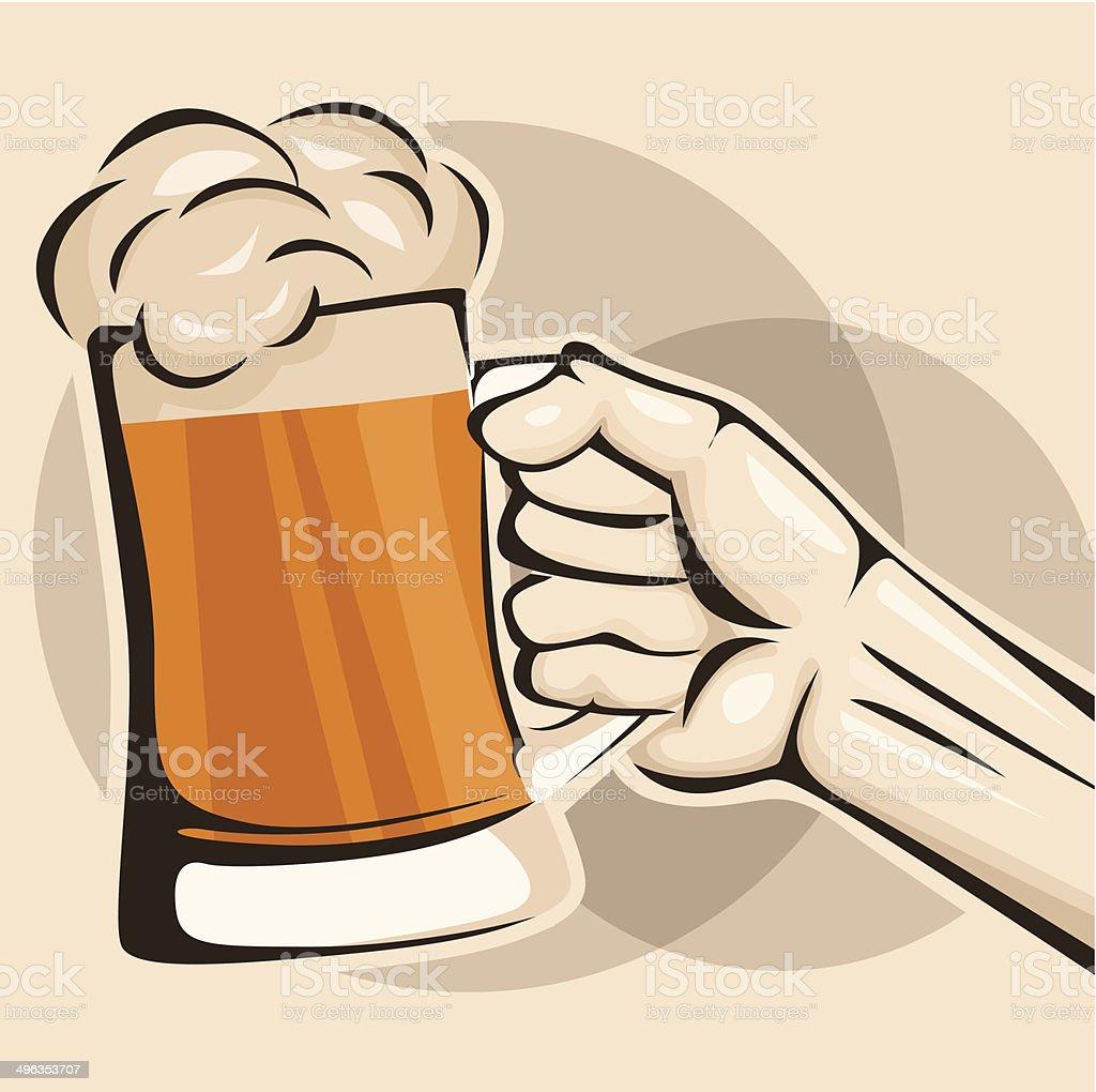 Main tenir une chope de bière stock vecteur libres de droits libre de droits