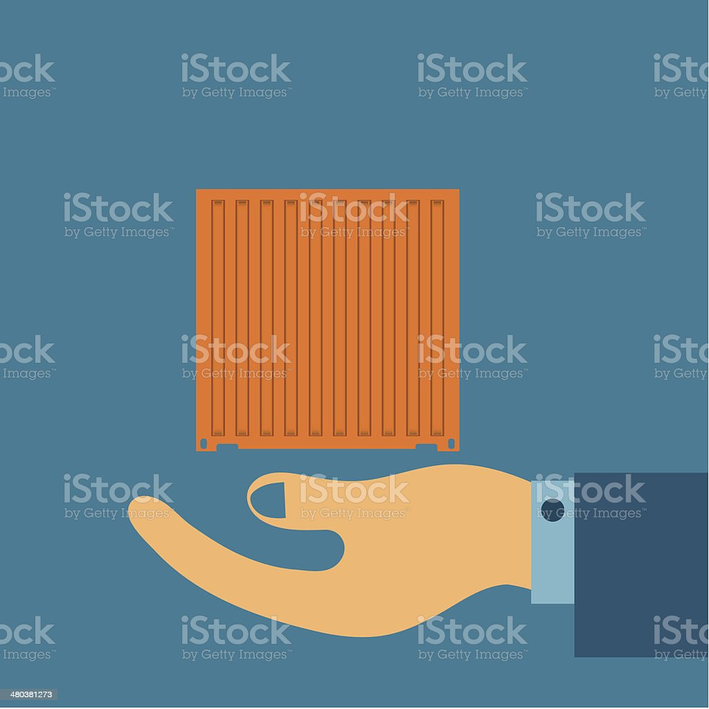 hand hold container vector art illustration