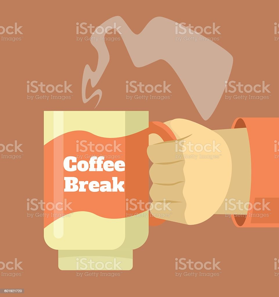 Hand hold cup of hot coffee. Coffee break vector art illustration