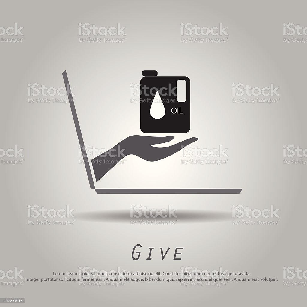 hand hold gallon oil from laptop vector icon vector art illustration