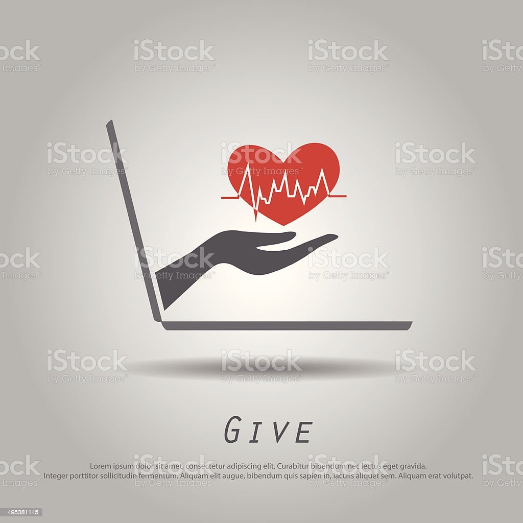 hand hold  heartbeat  from laptop vector icon vector art illustration