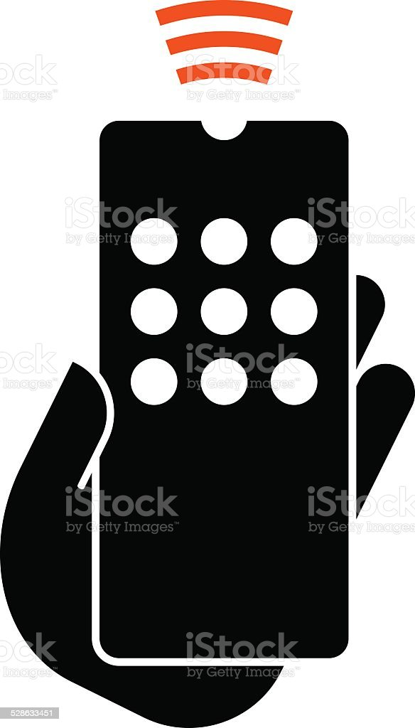 Hand hold remote control icon vector art illustration
