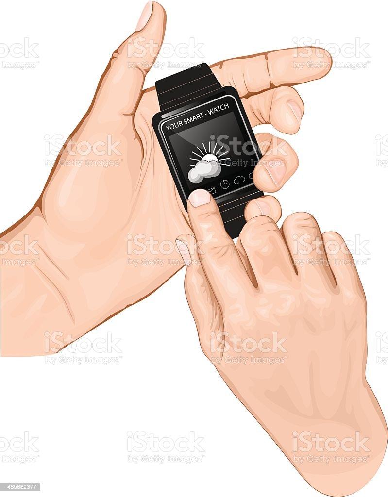 Hand hold smart-watch. Gesture Tap. vector art illustration
